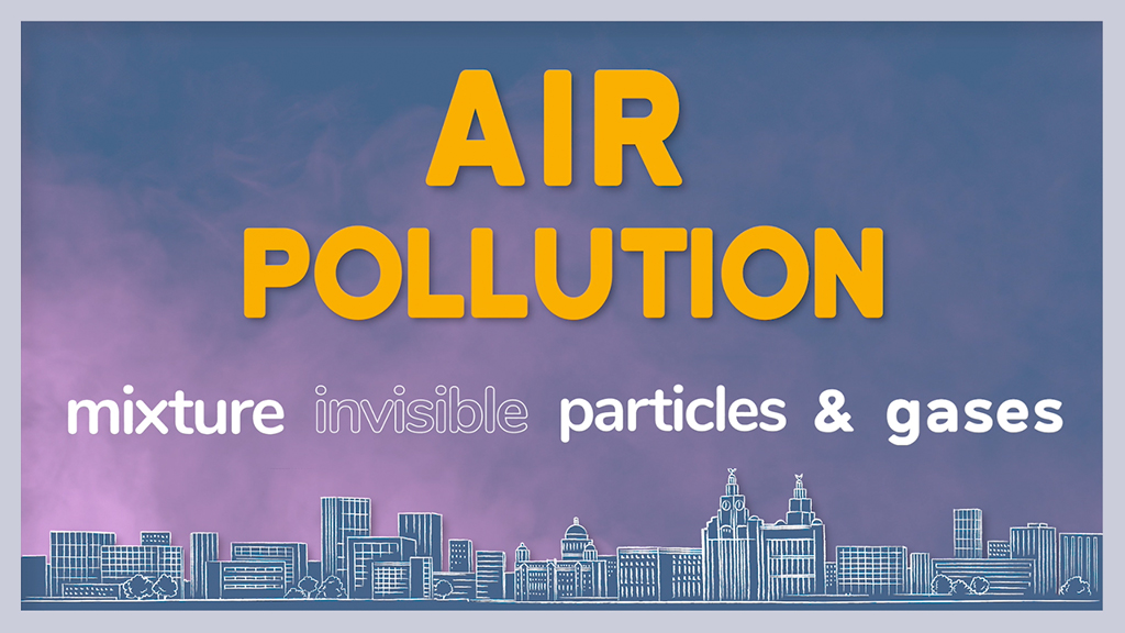 """Air pollution"" graphic showing a drawing of the Liverpool skyline"
