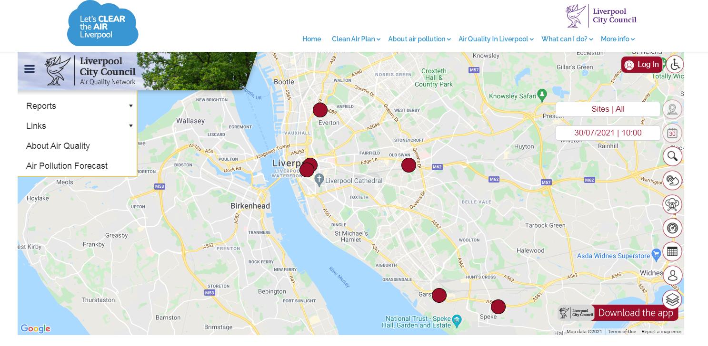 Screenshot of live air quality map